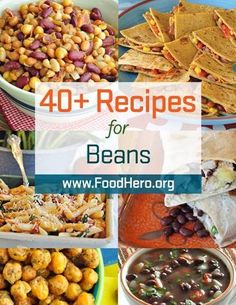 Beans in recipes. Different ways to cook with beans! Food Hero bean recipes, Food Hero - Healthy Recipes that are Fast, Fun and Inexpensive. Healthy bean recipes. Food Hero #beans. Save money. Food Hero Recipes are available in English and Spanish. #recipes #healthyrecipe. Bean recipes from Food Hero. Bean recipes kids will love.