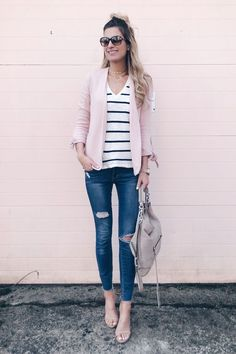 spring capsule wardrobe 2018 - skinny jeans with heels and casual blazer for a spring date night outfit on pinteresting plans fashion blog @nordstrom #sponsored