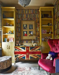 architecture home house interior design living room reading nook library office Union Jack dresser