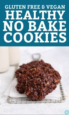 Healthy No Bake Cookies These taste amazing! is part of Dairy free no bake cookies - Healthy No Bake Cookies All the chocolate peanut butter flavor you love from traditional nobakes, made with healthier ingredients (gluten free & vegan) Dairy Free No Bake Cookies, Healthy No Bake Cookie Recipe, Healthy Cookies, Healthy Dessert Recipes, Healthy Baking, Healthy Desserts, Cookies Vegan, Cookie Recipes, Gluten Free No Bake Cookies