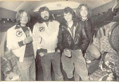 """Led Zeppelin aboard their private jet, """"The Starship"""""""