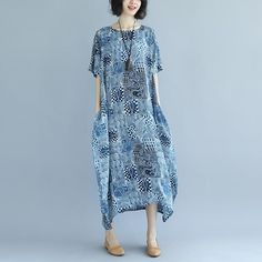 Women Round Neck Short Sleeve Blue Printed Dress