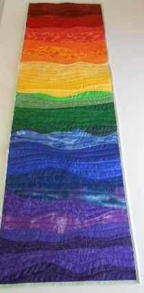 Over the Rainbow Quilt Table Runner. Bed Runner, Wall Hanging -  Custom Order Only - by Sew Fun Quilts. $50.00, via Etsy.