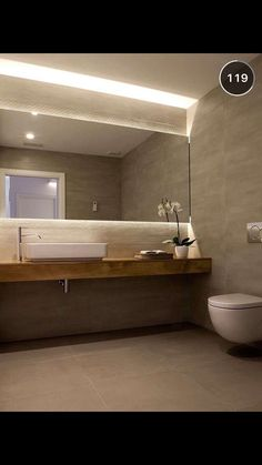 Full width wall to wall mirror with LED behind top and bottom. wall hung worktop and toilet. Oliver by enblanc Bathroom Layout, Modern Bathroom Design, Bath Design, Bathroom Interior Design, Small Bathroom, Zen Bathroom, Bathroom Lighting, Bad Inspiration, Bathroom Inspiration