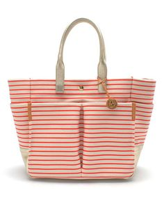 Tory Burch Nautical Natural & Poppy Red Stripe Carrie Garden Tote