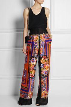 Alberta Ferretti|Printed silk-satin wide-leg pants