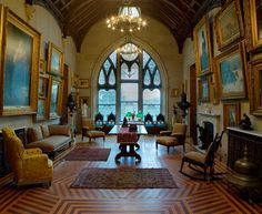 Interior gothic revival Library, Lyndhurst,Gilded Age Mansion. Home to Jay Gould.Terrytown, New York.