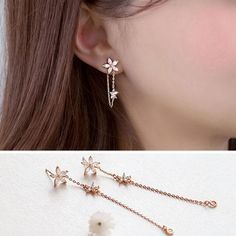 Long Crystal Star Flower 925 Sterling Silver Earrings For Women Hot Fashion sterling-silver-jewelry brinco brincos bijoux Ear Jewelry, Cute Jewelry, Gold Jewelry, Hair Jewellery, Peridot Jewelry, Silver Bracelets, Jewelry Ideas, Beaded Jewelry, Chain Earrings