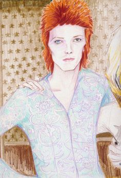 "elizabeth peyton david bowie ""It's just who I'm very interested in, and identify with, and see as very hopeful in the world…I see them as very great role models, and heroic in that they can go through their own daily lives, and manage to create something and transcend what they come from."""