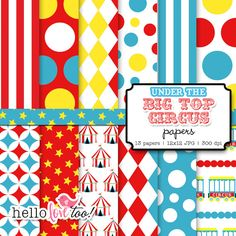 under the bigtop circus digital paper - carnival - papers for scrapbooking, invitation design, party printables. $5.00, via Etsy.