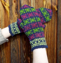 hand knitted blue red green wool mittens by peonijahandmadeshop, $42.00