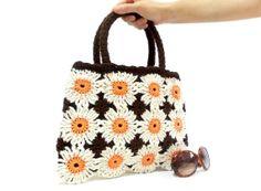 Crochet bag Crochet Flower Handbag Floral bag Shoulder by aynikki,