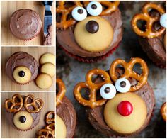 I love making cupcakes, only wish I had more time! Here are 11 cute christmas cupcakes that I've rounded-up for this holiday season. Easy Christmas Treats, Christmas Sweets, Christmas Cooking, Holiday Baking, Christmas Desserts, Holiday Treats, Holiday Recipes, Reindeer Christmas, Family Christmas