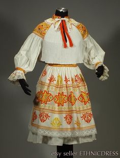 RARE Slovak Folk Costume embroidery blouse lace apron pleated skirt CICMANY kroj in Collectibles, Cultures & Ethnicities, European Blouse And Skirt, Pleated Skirt, Folk Embroidery, Learn Embroidery, Embroidery Ideas, Folk Costume, Vintage Textiles, Cotton Skirt, Embroidered Blouse