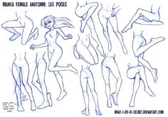 Manga Female Leg Poses by what-i-do-is-secret - check out deviantart if you want to see more references