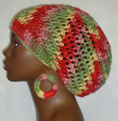 Crochet Beret Cap Hat Tam with Light Weight Earrings by RazondaLee