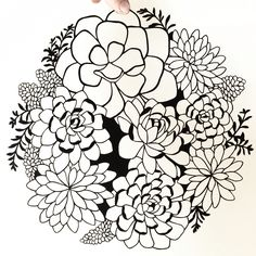 Succulents papercut art. Papercutting by Emily Brown