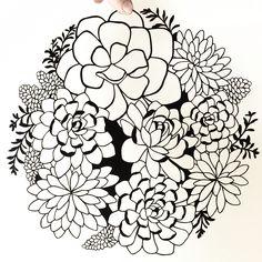 Succulents papercut art. Papercutting by Emily Brown