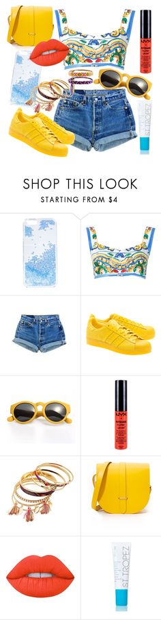 """""""too good"""" by bellamay-r ❤ liked on Polyvore featuring Skinnydip, Dolce&Gabbana, Levi's, adidas Originals, NYX, The Cambridge Satchel Company, Lime Crime and Accessorize"""