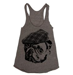 Womens Pug Hooligan Tri-Blend Racerback Tank Top $20.00, via Etsy.