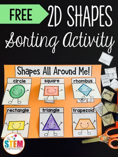 Free 2D Shapes Activity! Fun sort for a math center, interactive notebook or math journal. Perfect for kindergarten or first grade! 2d Shapes Activities, Teaching Shapes, Sorting Activities, Math Games, Stem Activities, 2d Shapes Kindergarten, Preschool Math, Math Classroom, Preschool Shapes