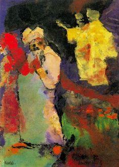 Emil Nolde (1867-1956 ) Aanvankelijk leerde Emil Nolde van 1884-1888 het vak van meubelontwerper en houtsnijder bij diverse meubelfabrieken. Als schilder was Emil Nolde nagenoeg autodidact. Hij kwam laat tot rijpheid en ontplooide zich pas tegen 1900 op vol artistiek vermogen. Dankzij zijn nieuwe manier van schilderen en zijn heftige kleurgebruik had hij veel invloed had op de jongere generatie schilders