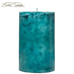 "3 3/4"" x 6"" Turquoise Ocean Mottled Pillar Candle"