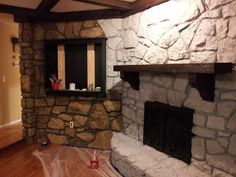 How to paint that 1970's stone fireplace wall and hearth. This would be a cost effective option