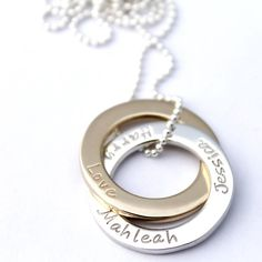 Handstamped Two tone gold and silver russian circles by MrsFickle Hand Stamped Jewelry, Solid Gold, Washer Necklace, Etsy Seller, Unique Jewelry, Handmade Gifts, Circles, Silver, Handcrafted Gifts
