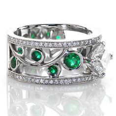emerald nature engagement ring - Google Search