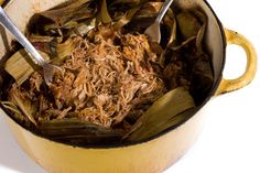 Mayan-Style Pit Pork (Cochinita Pibil):  This recipe from the Barrio Café in Phoenix is perfect for feeding a crowd. The prep time is minimal and the results are outstanding.  Orange-rubbed pork is roasted in banana leaves and served with pickled red onions and corn tortillas.