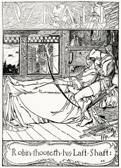 Robin shooteth his last shaft.    From The merry adventures of Robin Hood, written and illustrated by Howard Pyle, New York, 1892.
