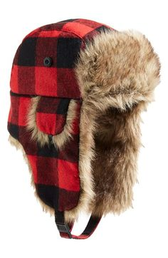 12102d54117 PJ Salvage Plaid Trapper Hat with Faux Fur Trim available at  Nordstrom  Mens Fur