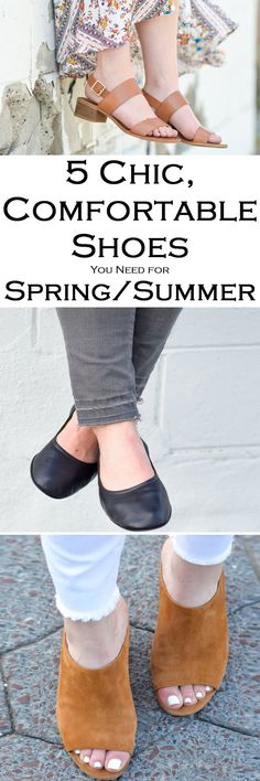 Chic, Comfortable Spring and Summer Shoes for Every woman. These cute, comfortable sandals, wedges, mules, sneakers, and ballet flats are everything you need for spring and summer fashion. Outfit ideas for each one!