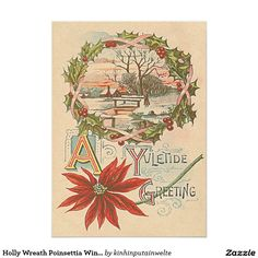 Shop Holly Wreath Poinsettia Winter Cabin Yuletide Holiday Card created by kinhinputainwelte. Vintage Invitations, Invitation Paper, Holly Wreath, Winter Cabin, Vintage Greeting Cards, Poinsettia, Vintage Christmas, Paper Texture, Holiday Cards