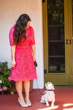 Coral Lace Dress - A Sequin Love Affair