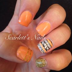 Orange peach black white and gold glitter tribal spring gel aztec shellac nails #scarlettsnails