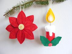 PDF pattern - Set of two Christmas tree ornaments - candle with holly and poinsettia flower. DIY Christmas decoration. €5.00, via Etsy.