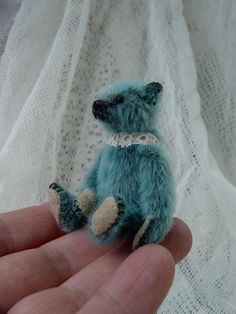 Little Low, Miniature Mini Teal Colored Artist Teddy from Aerlinn Bears.