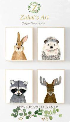 Woodland nursery set Set of 4 Prints Animal Paintings moose hedgehog rabbit raccoon nursery decor Nurser yprints nurserywall art Nursery Artwork, Nursery Prints, Nursery Decor, Nursery Ideas, Nursery Paintings, Animal Art Prints, Animal Paintings, Baby Animal Nursery, Baby Animals