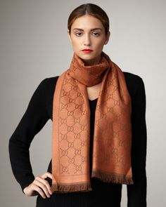 GG Pattern Scarf, Tangerine by Gucci at Neiman Marcus.