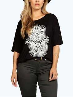 Plus Basic Black T-Shirt: half sleeve, loose fit, white print on the front.
