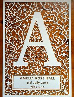 Paper Cutting - Initial A by all things paper, via Flickr