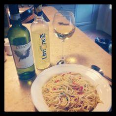 spaghetti garlic oil and chilli with white wine #italy #food #wine
