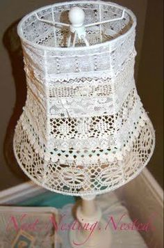 4 Admired Tips: Cool Lamp Shades Paper Lanterns table lamp shades world market.Lamp Shades Modern Decor lamp shades burlap home.Lamp Shades Burlap Home. Wall Lamp Shades, Painting Lamp Shades, Modern Lamp Shades, Painting Lamps, Lace Lampshade, Wooden Lampshade, Lampshades, Antique Lace, Vintage Lace