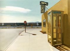 Mojave Bus Station, 1978. Register was born on February 1, 1939, in New York City. His parents divorced when he was 3, and Register moved to the Los Angeles area in 1942 following his mother's marriage to an Army psychiatrist. He was educated at the University of California at Berkeley, where he was influenced by the Photo-realist artists Richard Estes and Ralph Goings.
