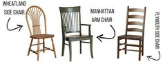 Each chair has the option of different backs to complete your dining room style #chairs #furniturefeature #peacefulvalleyfurniture