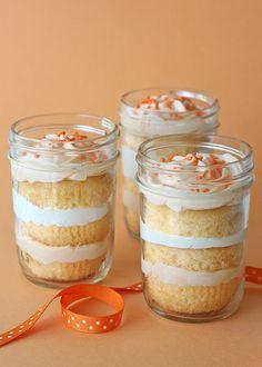 Orange Dreamsicle Cupcakes in a Jar