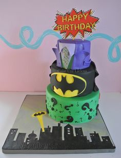 Batman Cake! Joker, Batman and The Riddler!