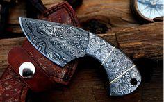Full Damascus EDC Knife Skinning Knife, Edc Knife, Tactical Knives, Damascus Steel, Leather Case, Brass, Yolo, Store, Knives